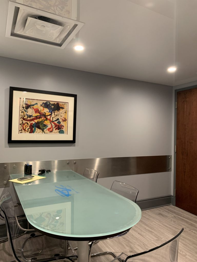 conference room with amazing reflective stretch ceiling USA