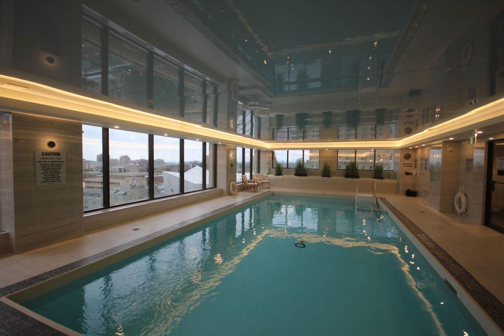 Renaissance Plaza pool with custom black stretch ceiling glossy canada