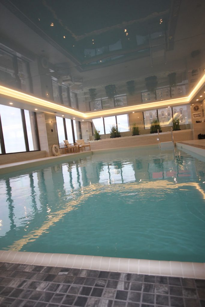 toronto Renaissance Plaza luxury pool with black gloss stretch ceiling