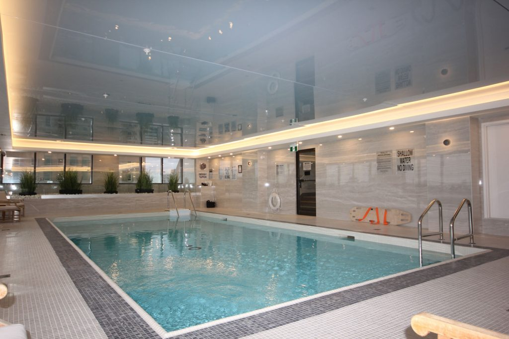 Renaissance Plaza swimming pool with reflective stretch ceiling Florida