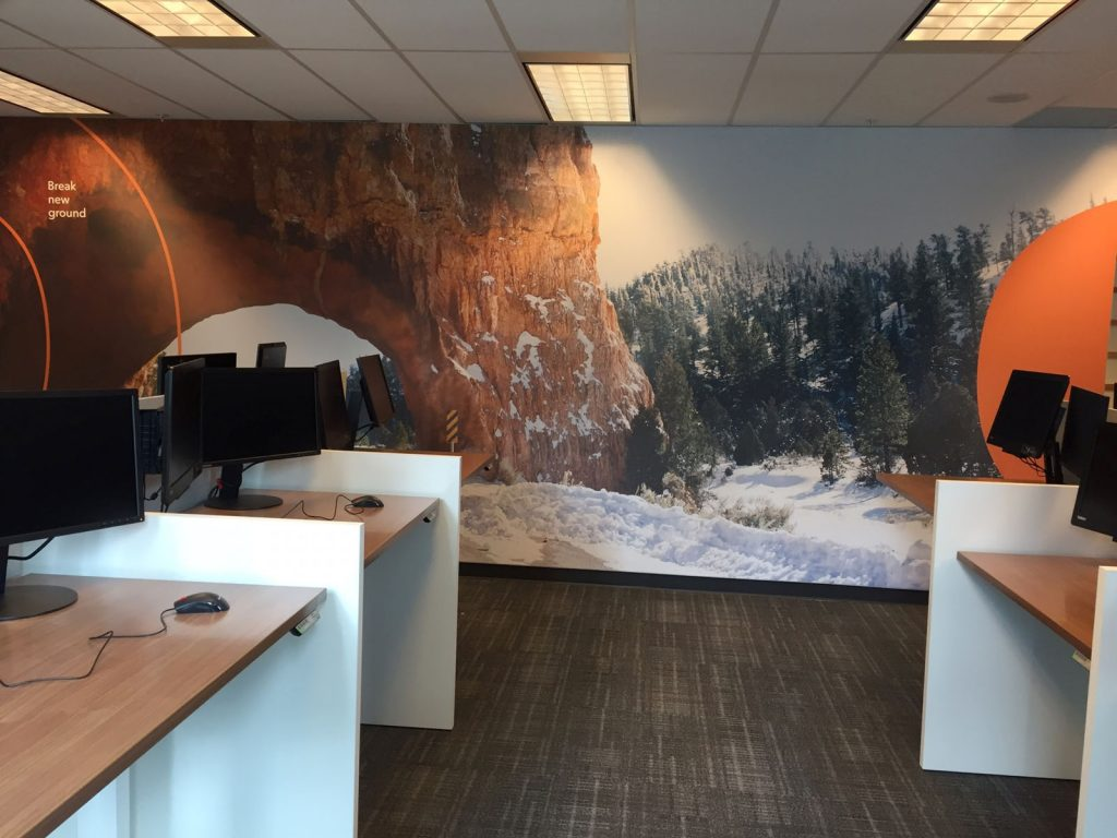 huge custom wall cover in amazing open space office