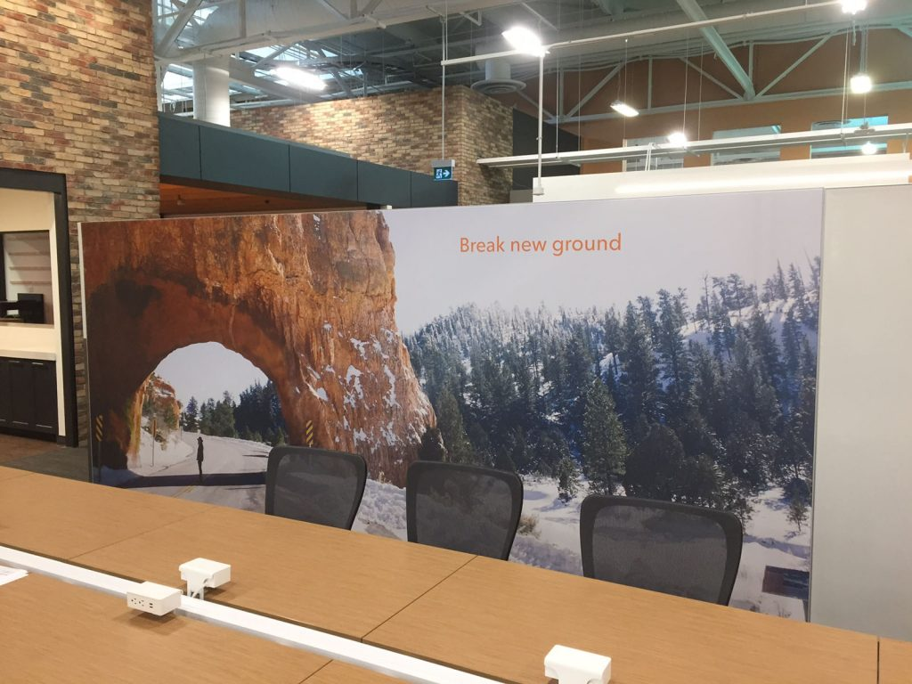 open space meeting room with amazing custom wall cover toronto