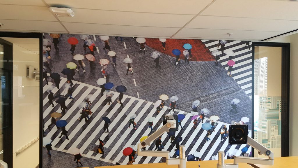 people crossing the road printed wall cover in rogers custom office