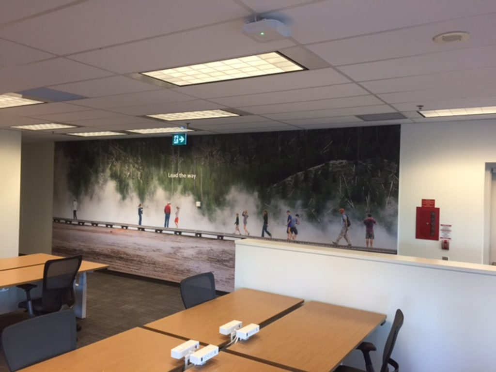huge custom wall cover in open space office rogers toronto