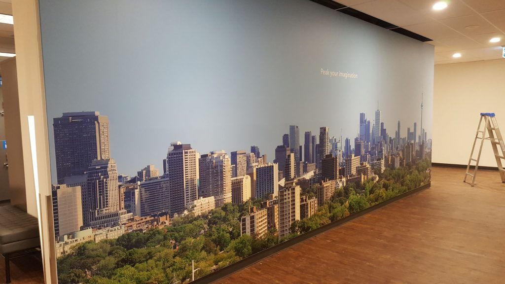 toronto sky view in printed custom wall cover in luxury office