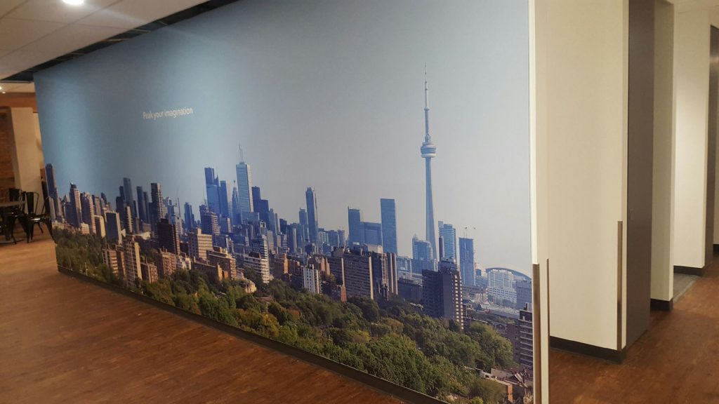 photo of CN tower on custom wall mural in luxury office