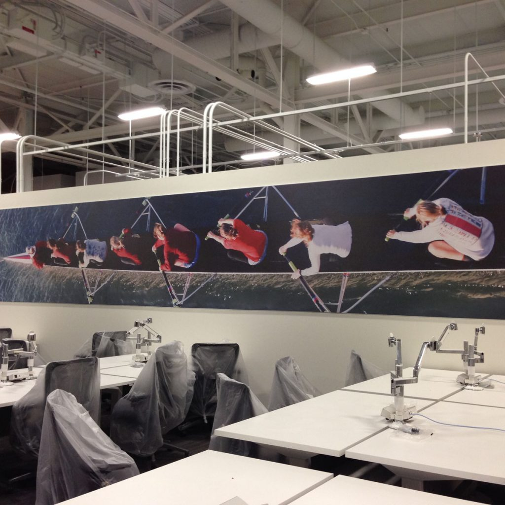 amazing huge wall cover in custom office
