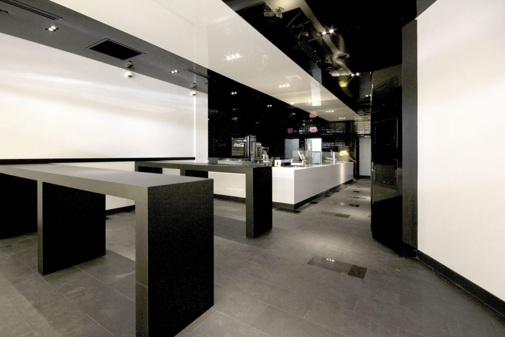amazing restaurant with white and black high gloss stretch ceiling