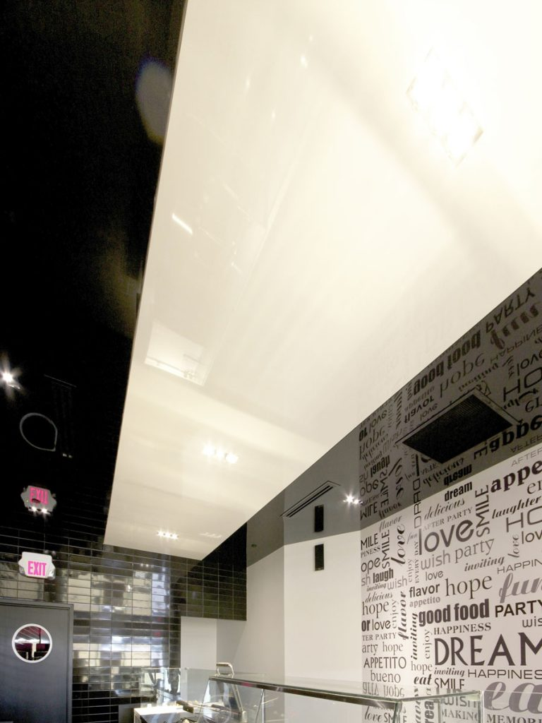 custom wall cover and glossy stretch ceiling edmonton