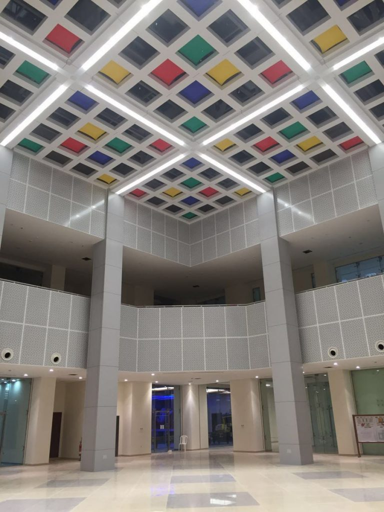 Linear Lights Ceilings with multi color modular structure ceiling