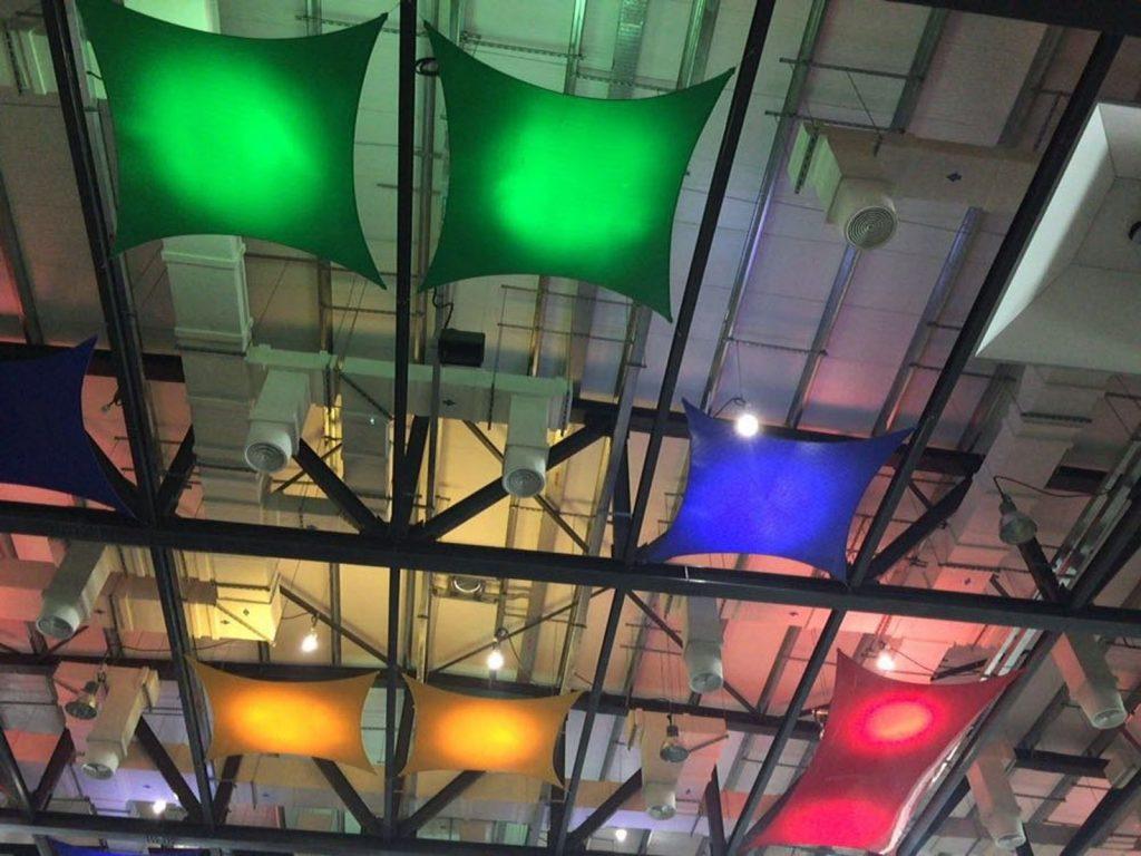Sultan Qaboos Youth Center, Oman backlit multilevel structures