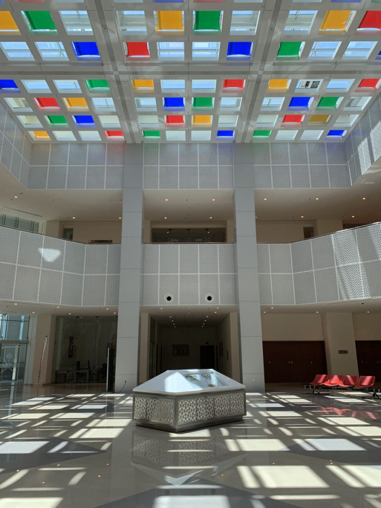 luxury reception area with luxury multi color modular structures