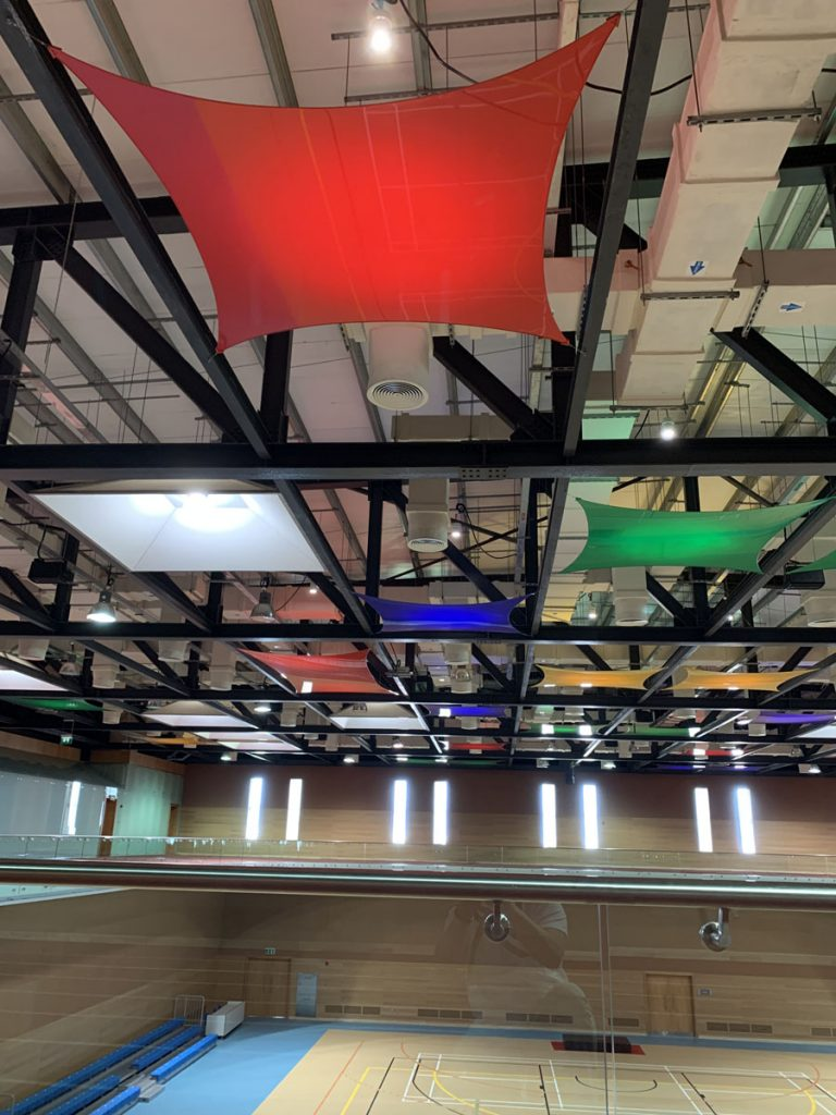 back lit multilevel modular structure ceiling Vancouver