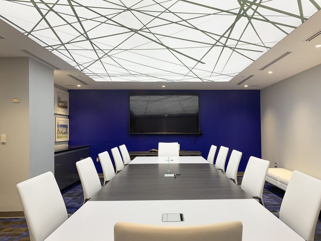 TLS brokerage meting room with white glossy stretch ceiling decor
