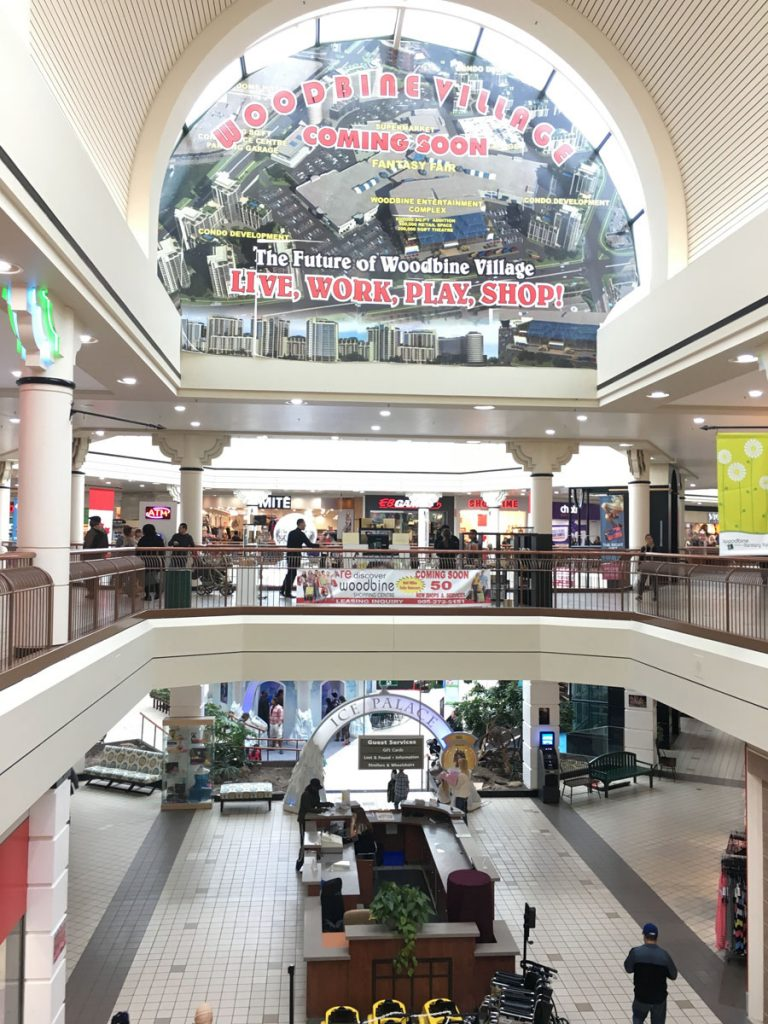 stretch ceiling advertising custom wall cover in woodbine mall