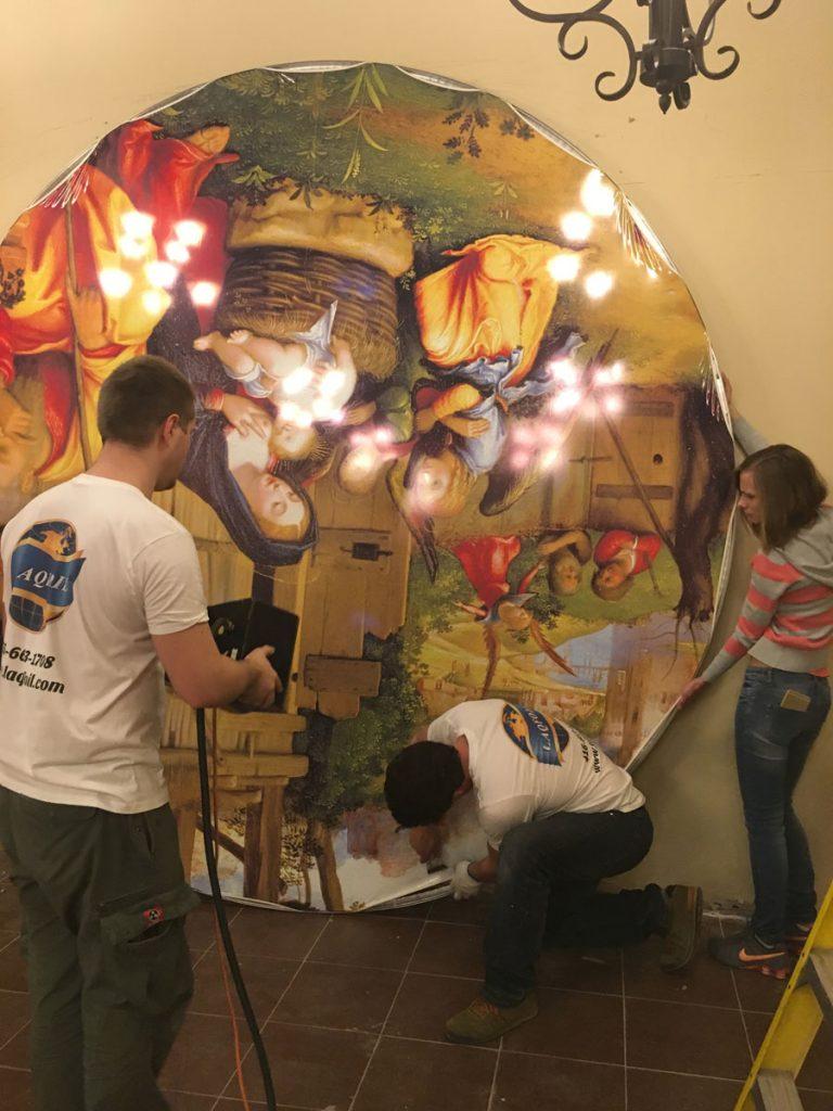 in progress of creating custom wall mural for woodbine mall