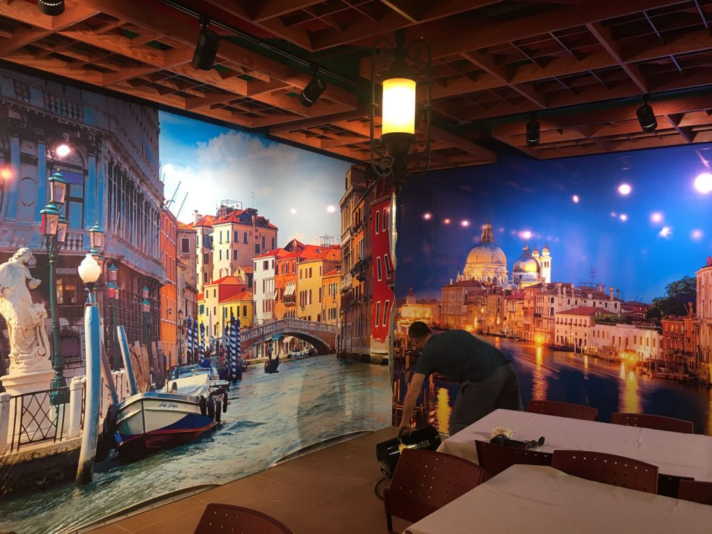 euro style custom wall cover in classic restaurant
