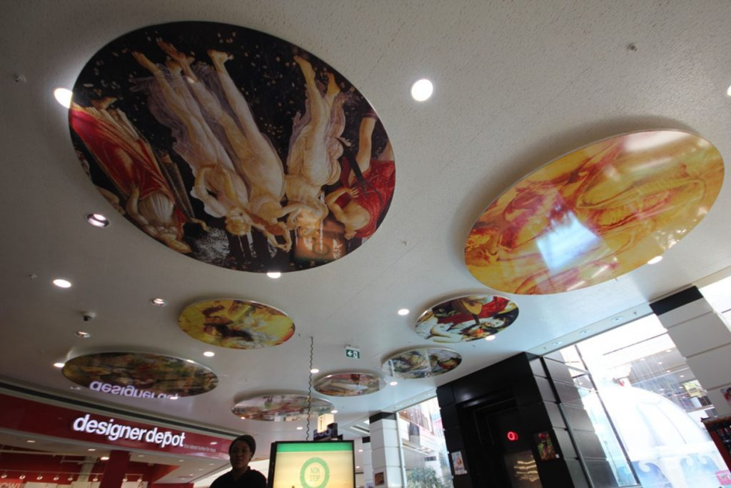 amazing stretch ceiling murals and potlights