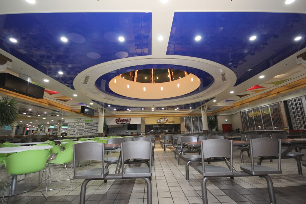 multilevel high gloss stretch ceiling in mall dining area aurora