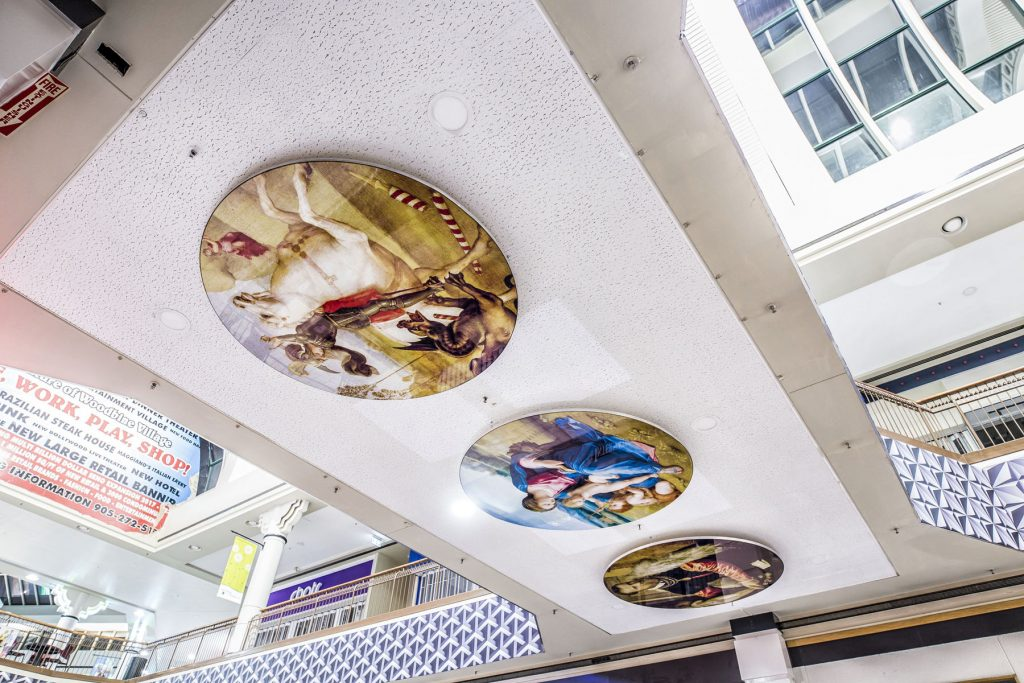 printed ceiling murals in woodbine mall by laqfoil