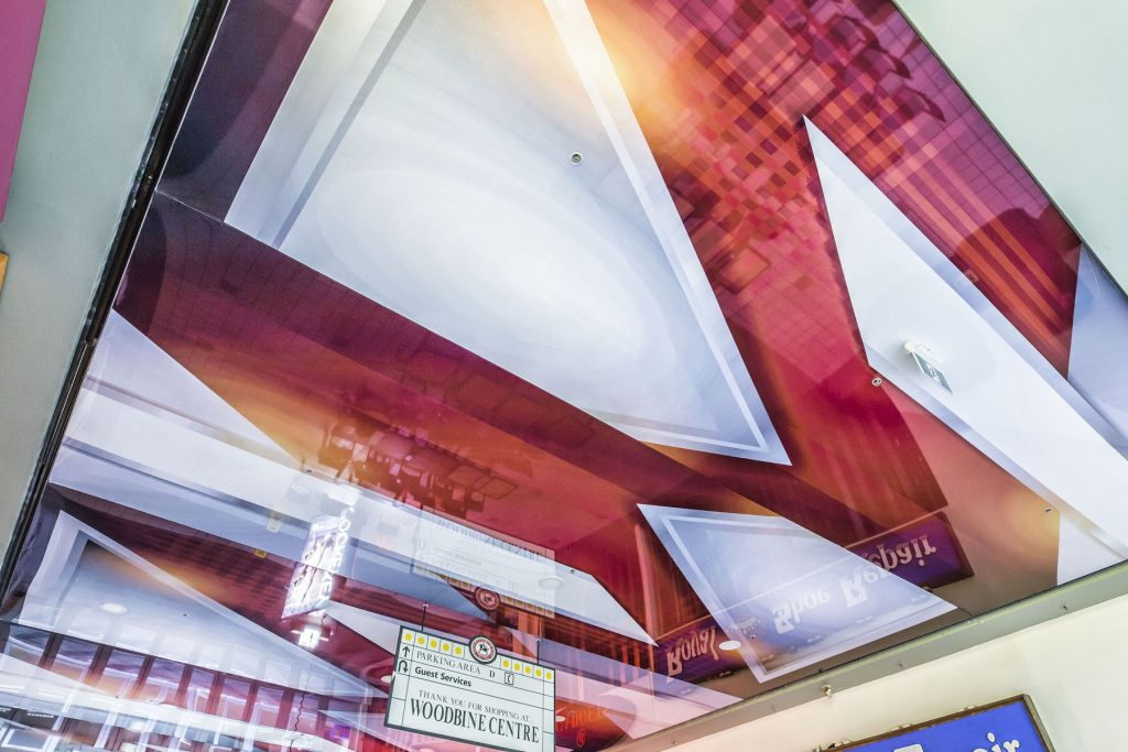 amazing red and white reflective printed ceiling