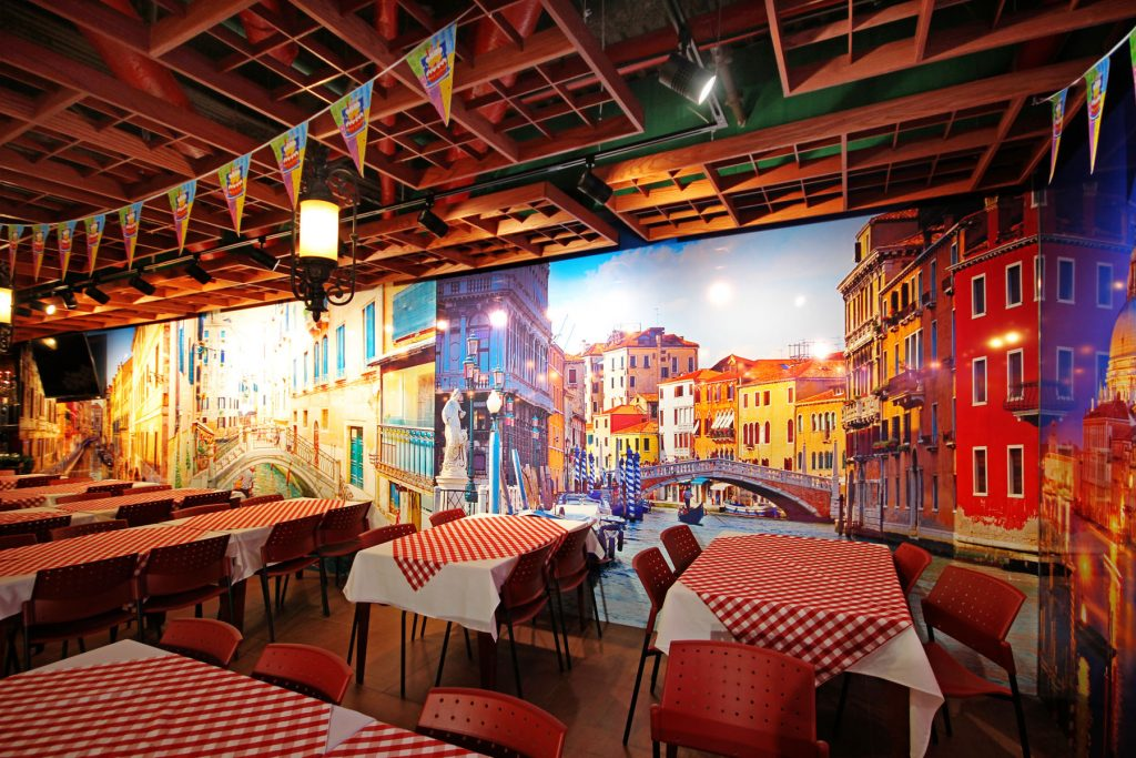 classic euro style custom wall covers in amazing restaurant