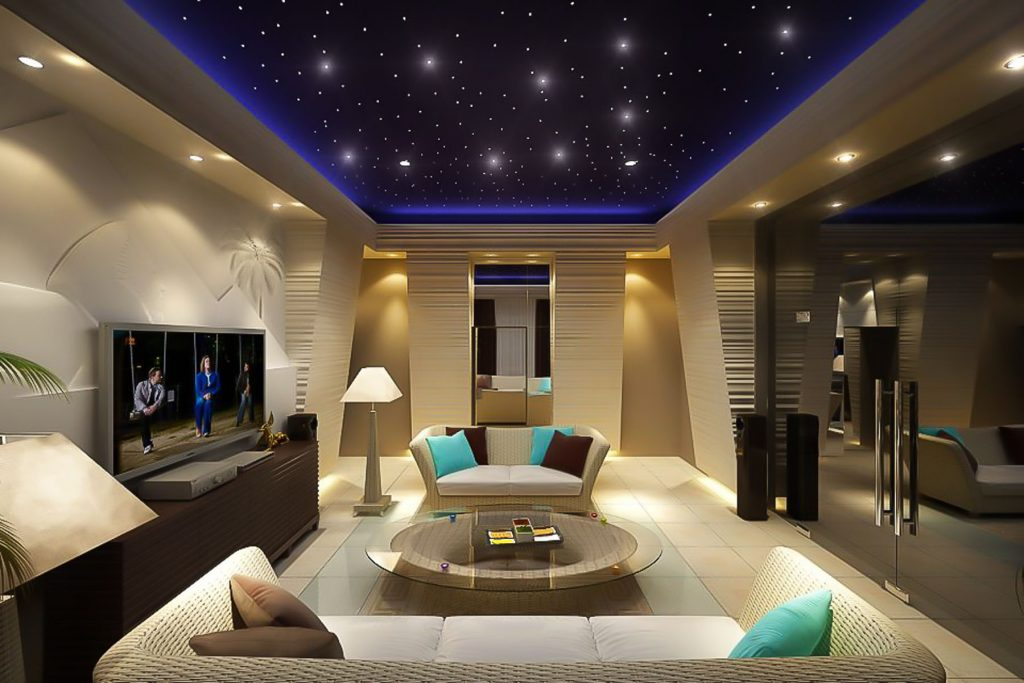 amazing home theater with Starry Sky Ceilings