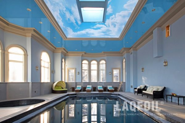 amazing swimming pool area with printed reflective ceiling