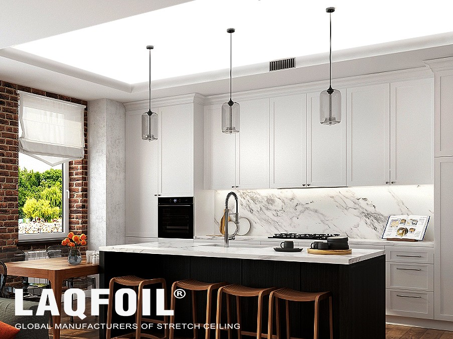 modern kitchen with back-lit reflective stretch ceiling