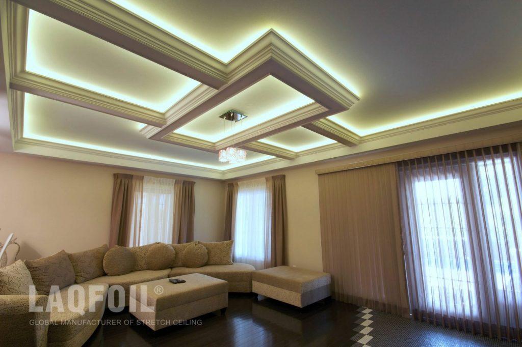 custom waffle trim with backlit matt stretch ceiling