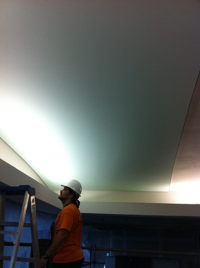 laqfoil installing stretch ceiling swimming pool