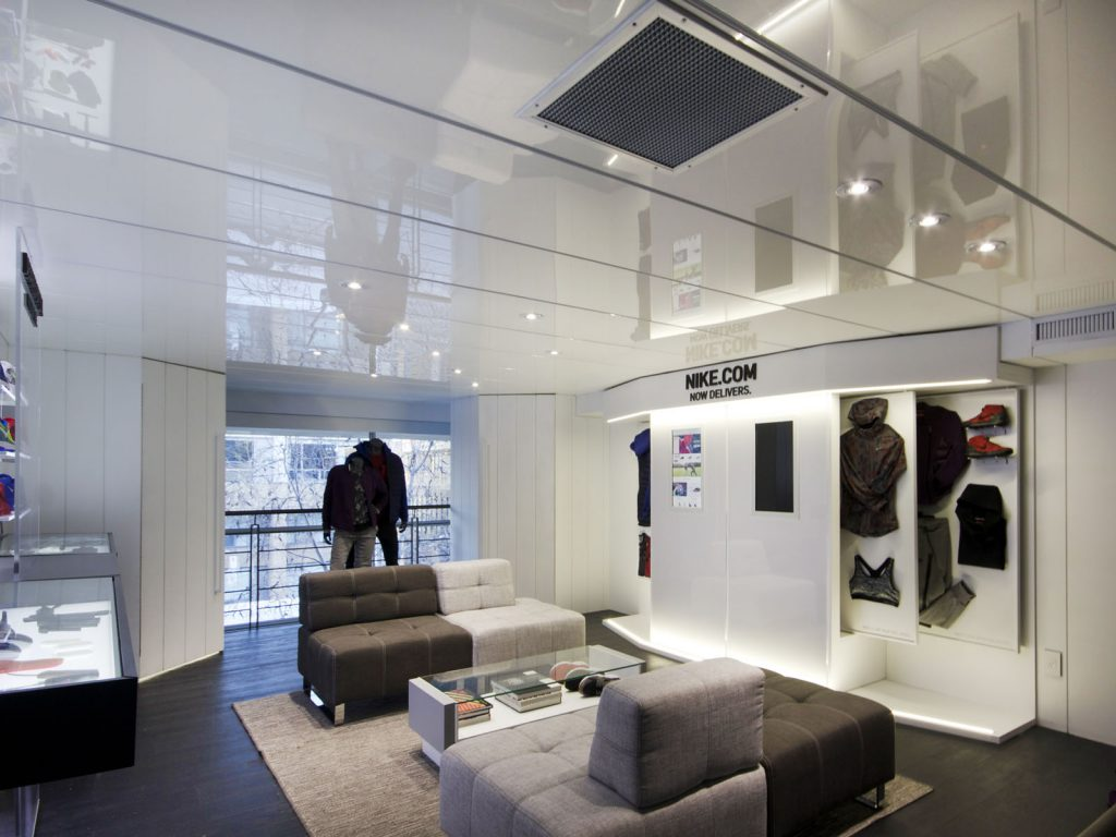 amazing nike shop with white high gloss stretch ceiling calgary