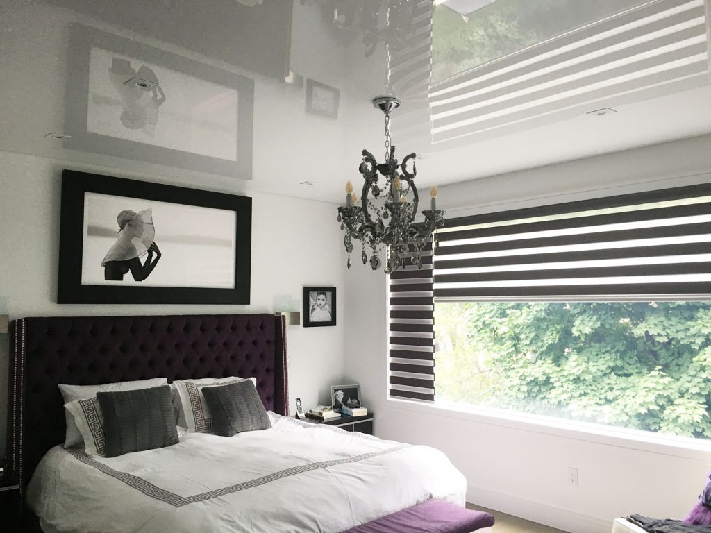 bedroom with stretch ceiling glossy