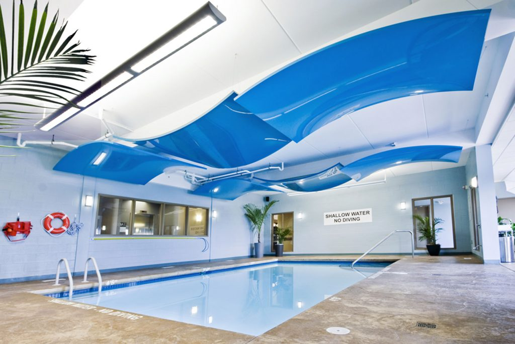 swimming pool with amazing multilevel modular structures UK