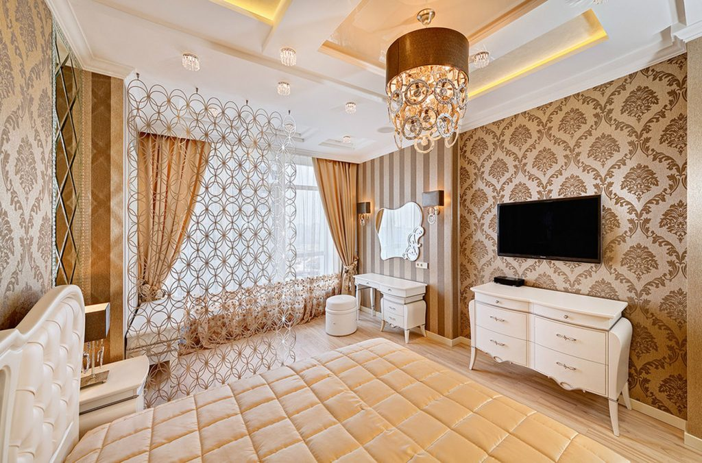 custom bedroom with multilevel stretch ceiling fabric