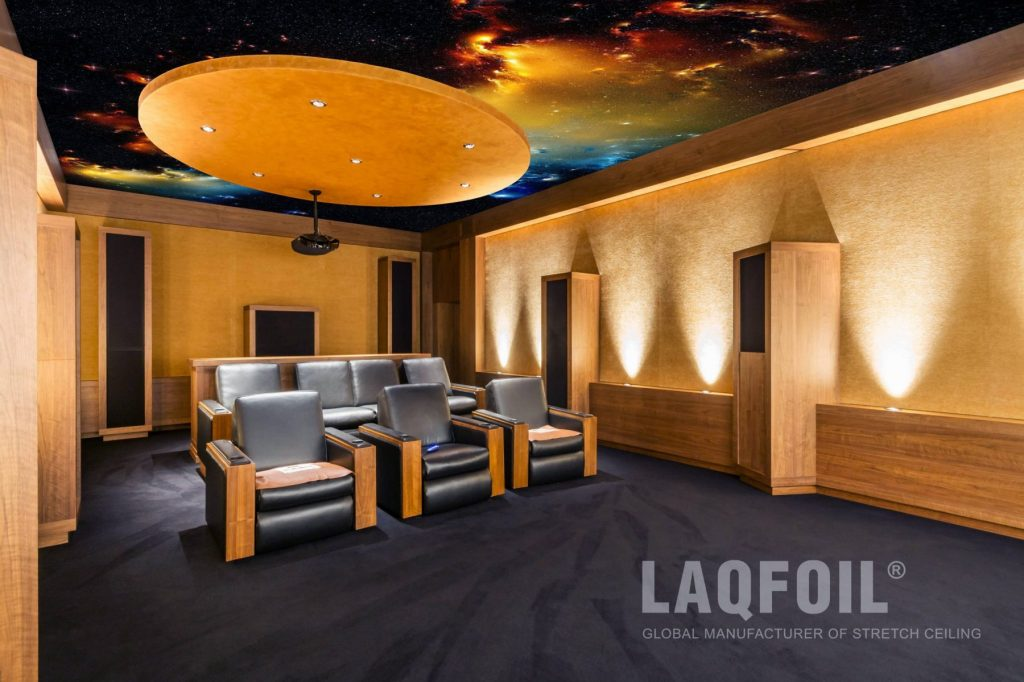 Night Sky Ceiling in Amazing Home Theater Room