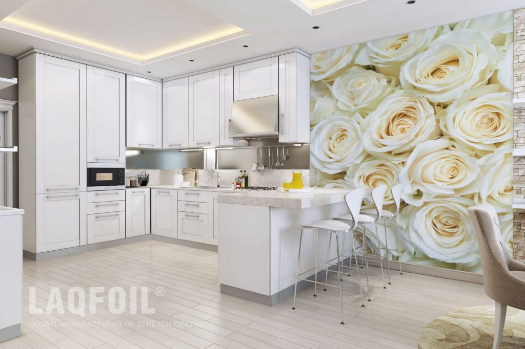 multilevel backlit reflective stretch ceiling in custom kitchen