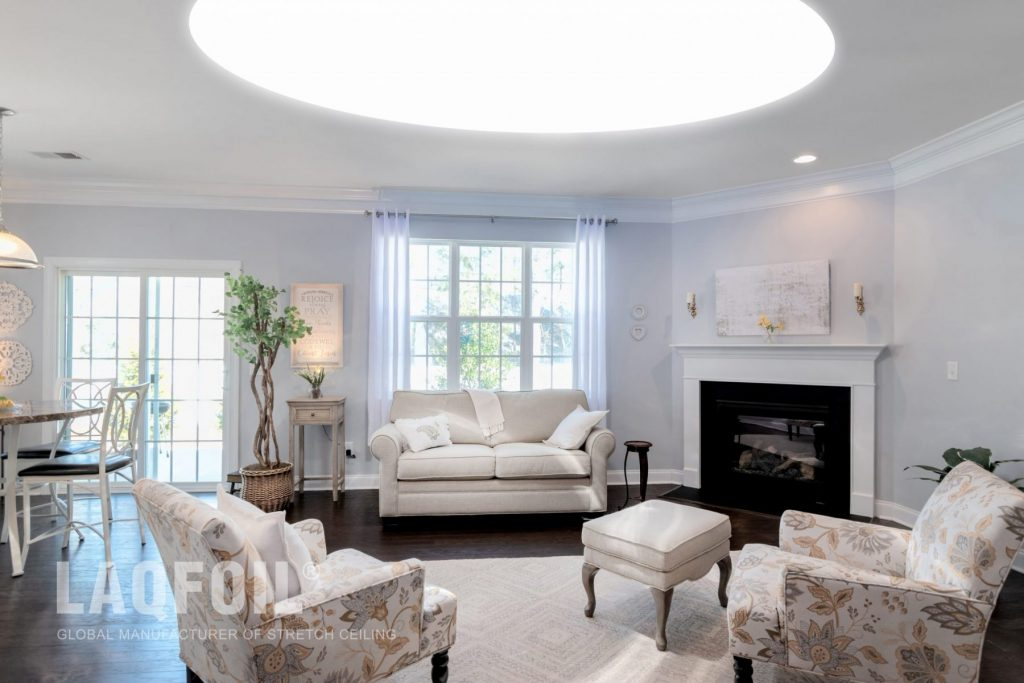 classic family room with backlit stretch ceiling