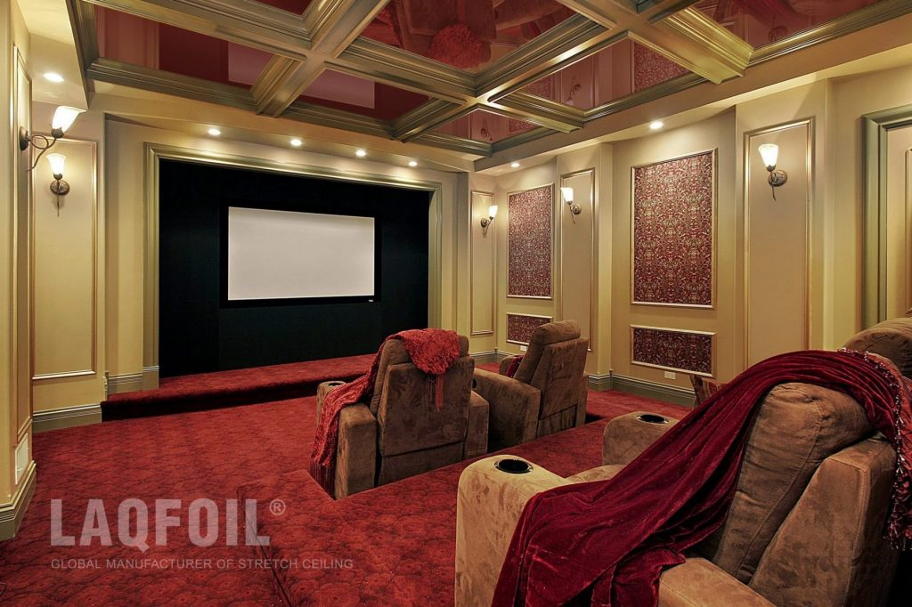 Amazing Home Theater with Waffle Reflective Stretch Ceiling