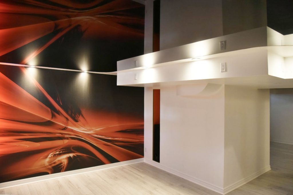 custom wall cover in low ceiling basement by laqfoil