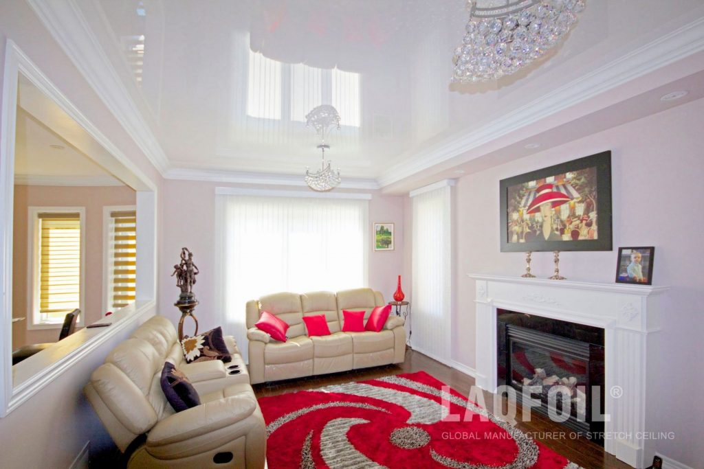 White Reflective Stretch Ceiling in Luxury Living Room