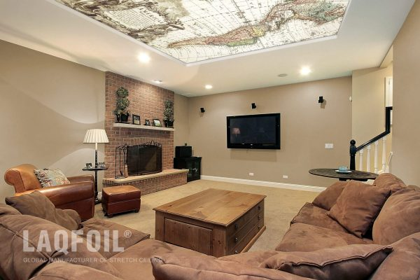 custom printed ceiling in amazing basement