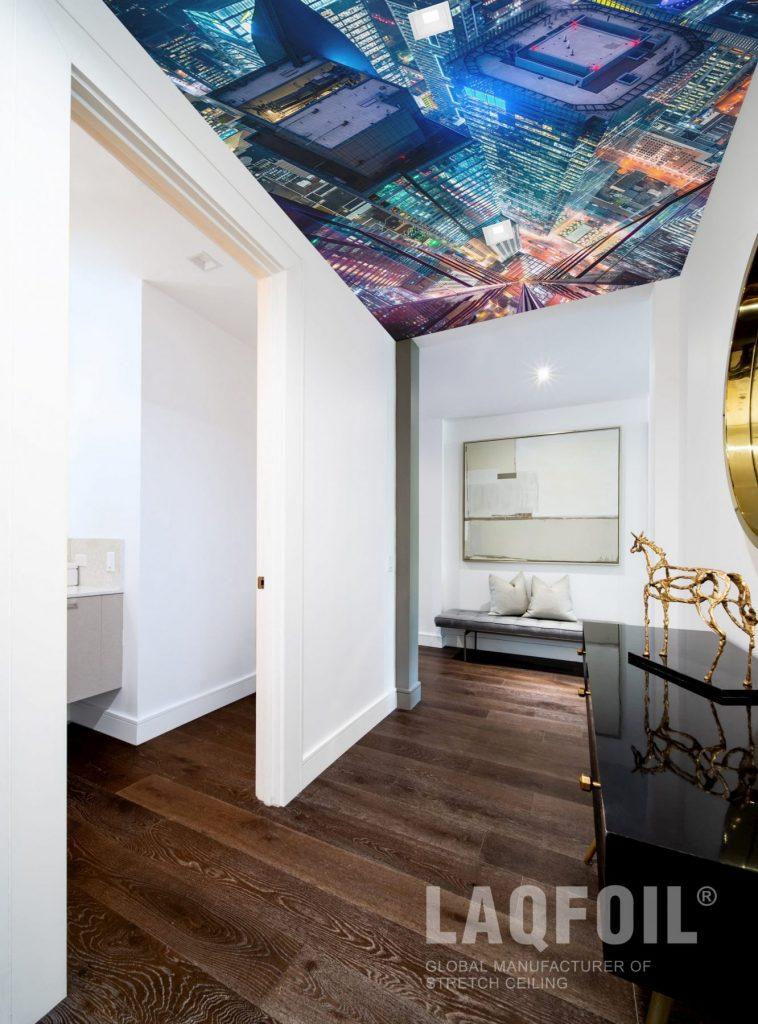 modern hallway with custom printed ceiling
