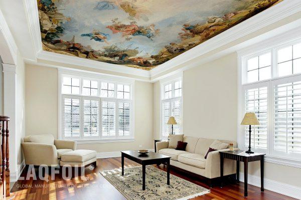 amazing living room with custom printed wall
