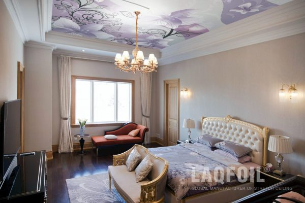 amazing bedroom with printed ceiling