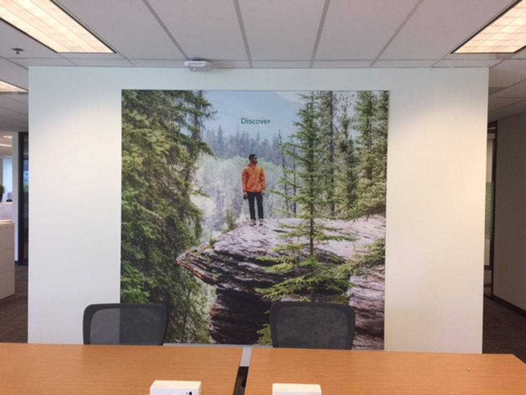 custom wall mural of nature in luxury rogers office