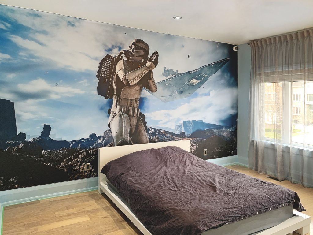 custom wall mural of star wars in amazing kids room by laqfoil