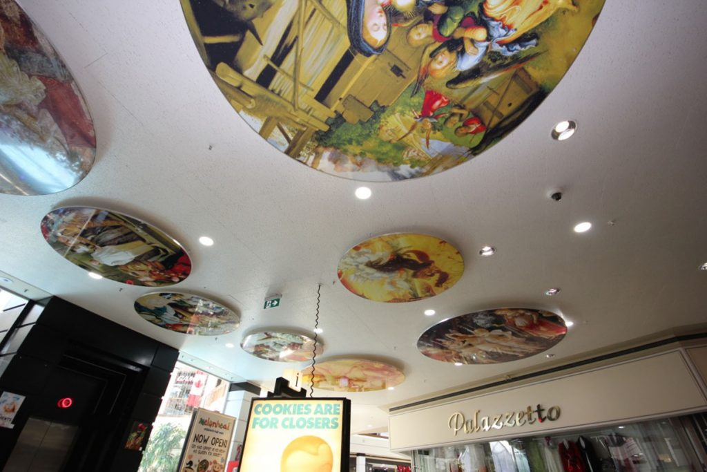 ceiling murals made from stretch ceiling fabric by laqfoil