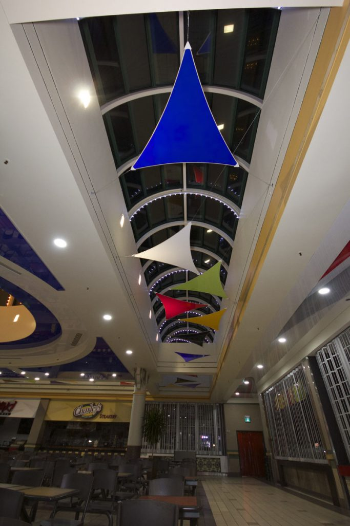 custom Modular Structures in mall hallway made from stretch ceiling-seattle