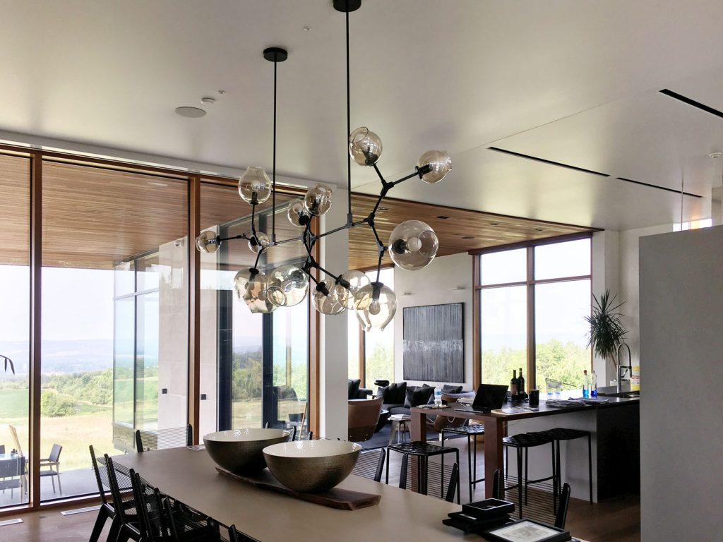 dining room with stretch ceiling matte